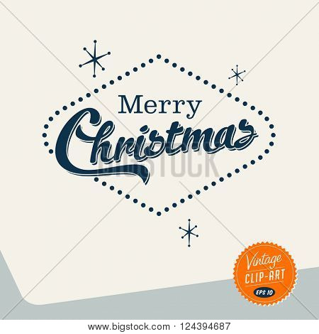 Vintage style Clip Art - Merry Christmas - Vector EPS10.