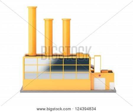 Industrial factory building isolated on white background. 3d render