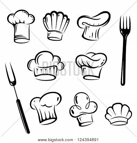Vector set of chef hats, with fork, design elements.