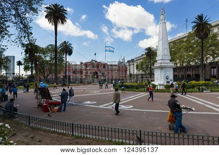 Buenos Aires, Argentina - October 4, 2013: People in the Plaza de Mayo in Buenos Aires, Argentina.