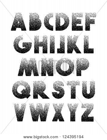 Font Retro Stipple. Alphabet retro . Black letters engraving spot . The font for printing . Typographic font.