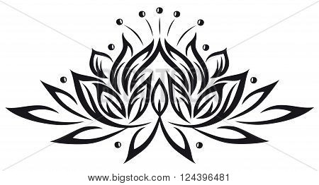 Lotus flower, beautiful waterlily, floral vector decoration.
