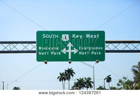 Key West street sign South Florida, USA