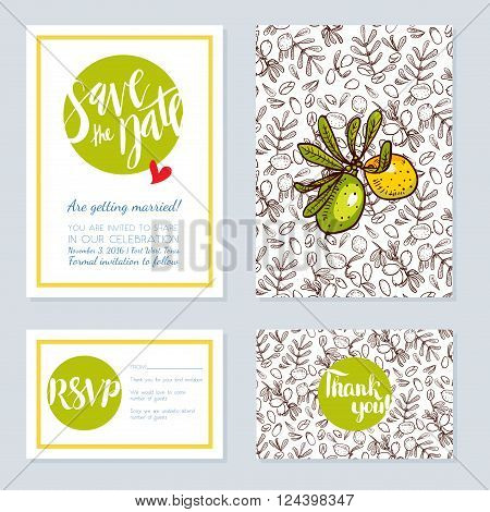 Set of wedding cards invitations for a bachelorette party in eco-style with argan tree