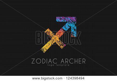 Zodiac archer. Zodiac logo. Color zodiac logo.