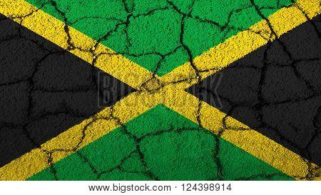 Flag of Jamaica, Jamaican Flag painted on cracked ground