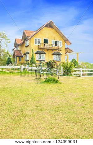 Yellow house landmark in Pai,  Mae Hong Son ,Thailand