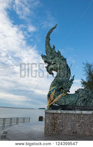 Naga statue in Songkhla Province South of Thailand