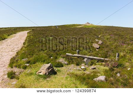 Dunkery Hill the highest point on Exmoor near to Minehead Somerset England UK in summer with wild pink flowers
