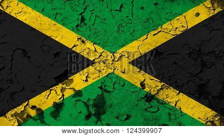 Flag of Jamaica, Jamaican Flag painted on cracked paint