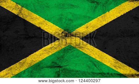Flag of Jamaica, Jamaican Flag painted on wool