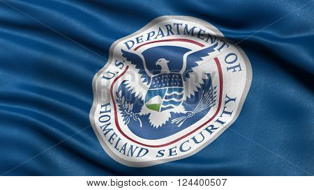 April 2, 2016: 3D illustration of the flag of the Department of Homeland Security waving in the wind