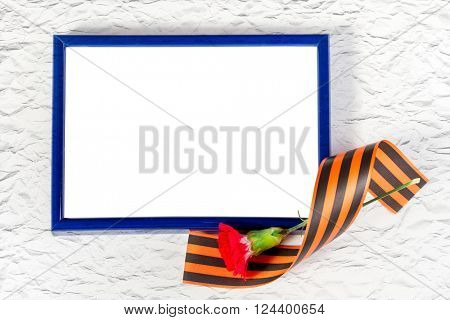 Photo frame with Red Carnation and St. George's ribbon