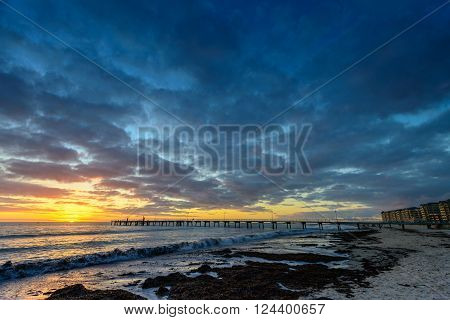 Dramatic sunset at Glenelg Beach South Australia