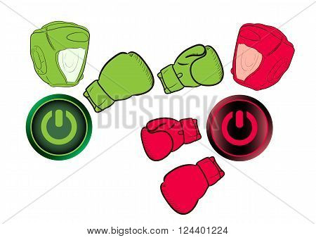 Icons of the button of inclusion and switching off in the form of boxers