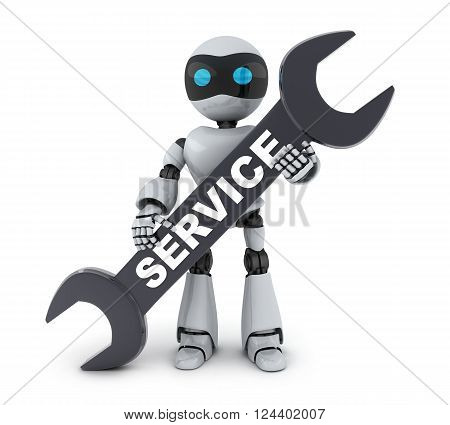 Robot and service sign on white background (done in 3d)