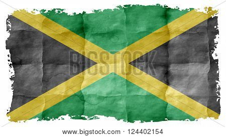 Flag of Jamaica, Jamaican Flag painted on paper texture