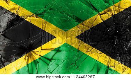 Flag of Jamaica, Jamaican Flag painted on broken glass