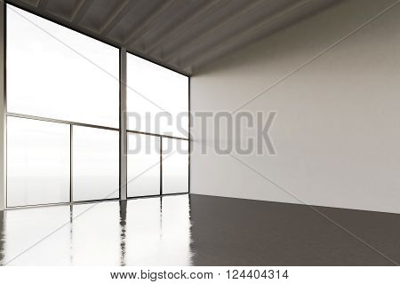 Image of huge expo hangar in modern building. Expo interior loft style with concrete floor, panoramic windows.Abstract background, blank walls. Ready for business info.Horizontal mockup. 3D rendering