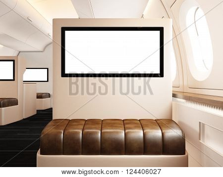 Photo interior of private airplane. Empty leather chair. Blank digital screen ready for your information. Luxury jet for business travel. Horizontal mockup. 3D rendering