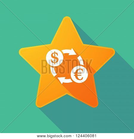 Long Shadow Star With A Dollar Euro Exchange Sign