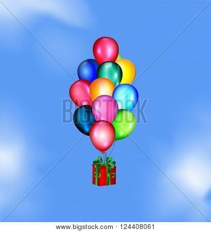 blue sky, clouds and multicolored flying balloons with gift