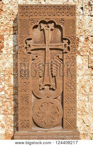 New khachkar (Armenian cross stone) from red tuff Bulgaria Varna