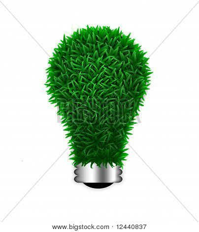 Environmental energy electric green grass light bulb isolated