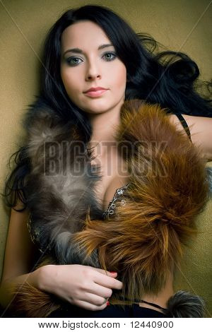 Attractive Glamor Girl With Brown Boa