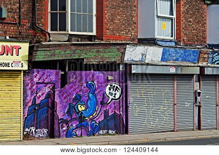 LIVERPOOL UK 3RD APRIL 2016 A street of derelict shops being sold by the council for £1 each to be refurbished