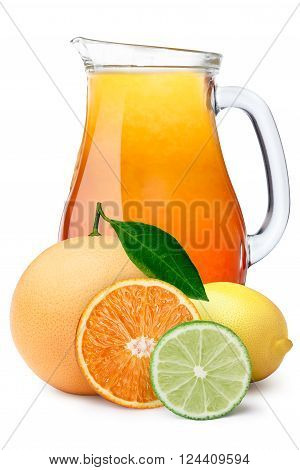 Multifruit citrus juice pitcher or jug with citrus fruits on foreground. Separate clipping paths for pitcher, for whole composite and for shadow. Infinite depth of field