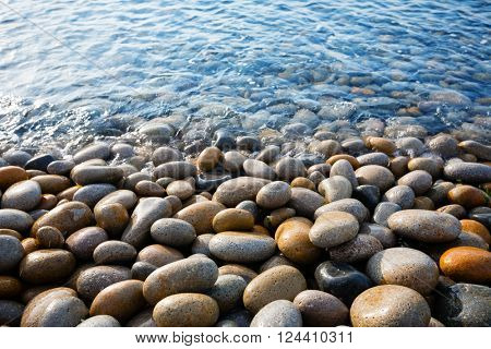 Beautiful large round stones at the seaside