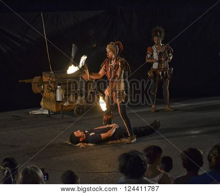 Vinci Italy - July 24 2015: spectacle of fire of jugglers at the Feast of the Unicorn of Vinci.
