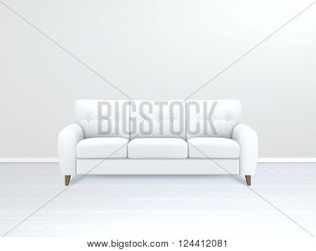 White soft luxury leather sofa in modern apartment salon art gallery or office interior realistic vector illustration