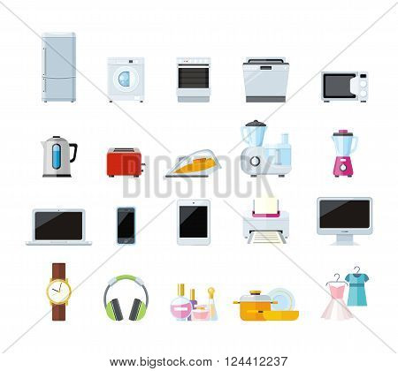 Set of household appliances design flat. Appliances household items, washing machine, kitchen appliances home, machine and equipment, refrigerator and microwave vector illustration