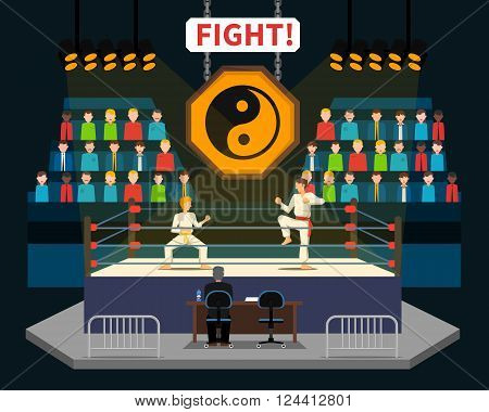 Martial arts fight concept with spectators and judge flat vector illustration