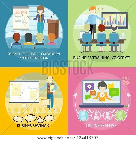 Set of banner seminar training business. Banner online web seminar with business speaker, presentation training conference audience, mentor meeting with people and speak lecture, vector illustration
