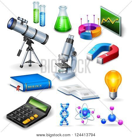 Science realistic icons set with microscope calculator telescope magnet  and  models of substance molecule vector illustration
