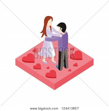Young love couple dance isometric style design. 3d people romance woman and man dancing on place with heart, love couple  boy and girl isometric design embracing with passion, vector illustration