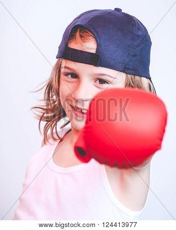 brat child fighter - filtered vintage style photo