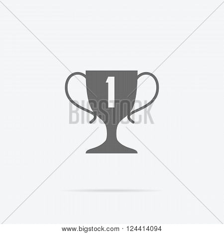 Winner concept goblet design flat icon. Winner award trophy success and victory and prize logo, competition sport winner game, reward and achievement vector illustration