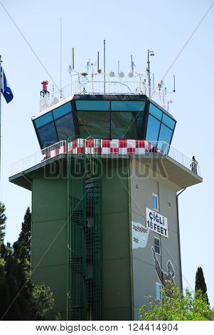 IZMIR/TURKEY-JUNE 5, 2011: Control tower of 2nd Main Jet Base-Cigli during the air fest. June 5, 2011-Izmir/Turkey
