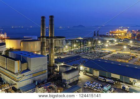 petrochemical industrial plant at night , Coal power station at Hong Kong