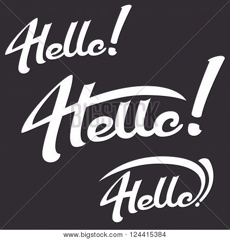 Greeting illustration hello lettering is hand-drawn on a dark background lettering set vector hello emblem for prints and typographic design lettering elements lettering logo composition