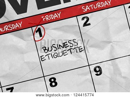 Concept image of a Calendar with the text: Business Etiquette