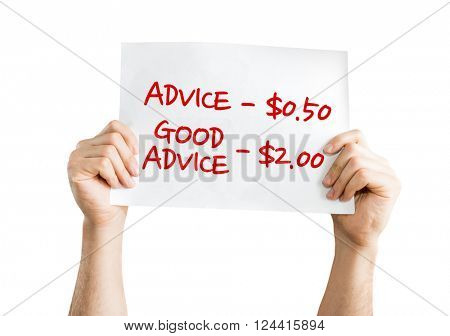 Advice - 0.50 / Good Advice - 2.00 placard isolated on white