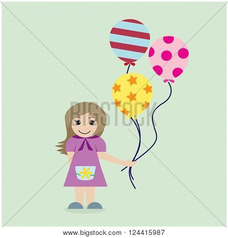 Pretty girl with colorful balloons on background. Vector illustration.