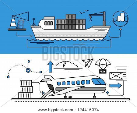Concept of Freight Forwarding by sea and by air. Transport delivery, shipping import industry, distribution and logistic, export railway transportation. Set of thin, lines, outline flat icons