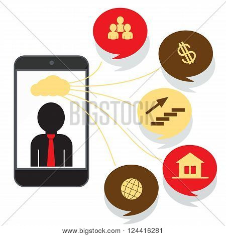 Cloud storage design flat concept. Cloud computing backup, online storage, data network internet web storage, connection clouds vector illustration. Smartphone with man