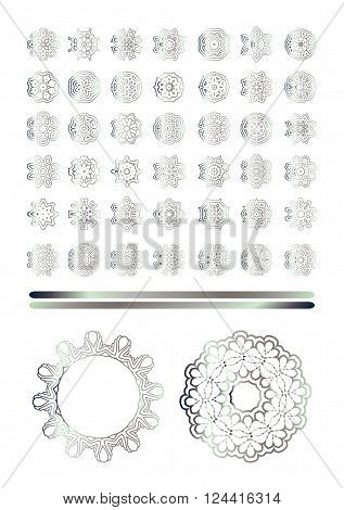 Traditional silver decor. Oriental silver pattern. Abstract silver ornament.